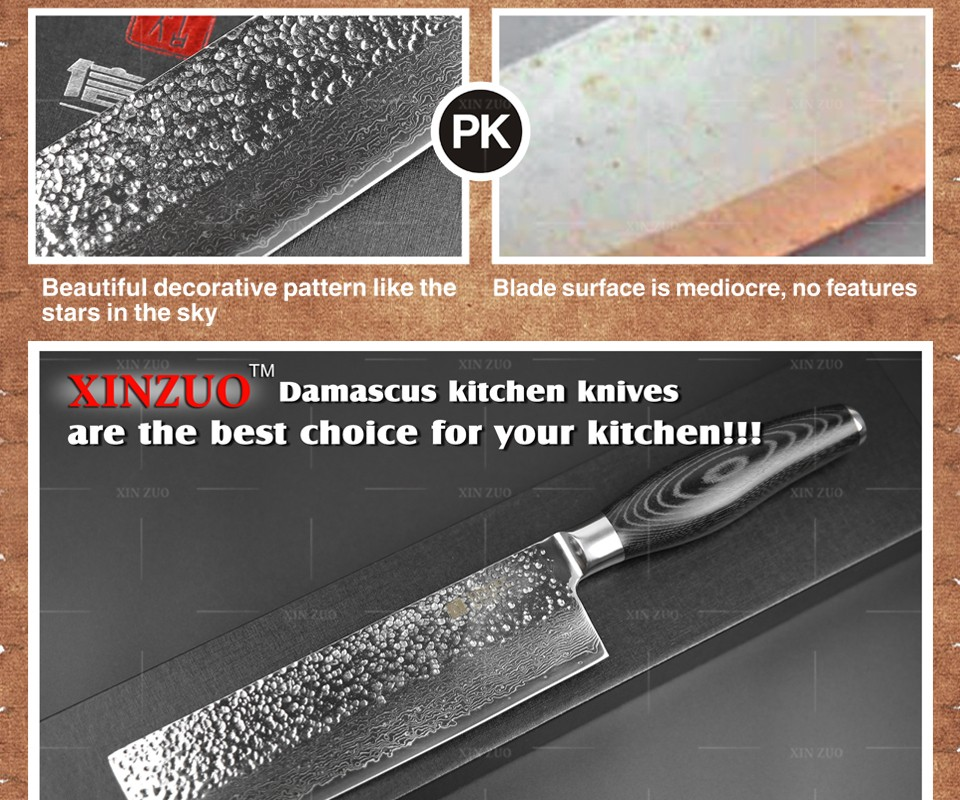 "Buy 2016 XINZUO 7"" inch chef knife Japan 73 layers Damascus kitchen knife sharp japanese women chef knife wood handle free shipping cheap"
