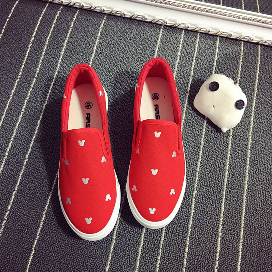 Women Platform Canvas Shoes Mickey Casual Flats Loafers Thick Soled Creepers Espadrilles 2016 Free Shipping z20