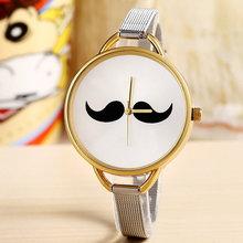 2015 venta caliente nueva moda bigote Casual Watch Unisex reloj de pulsera banda de acero inoxidable barba mujeres del reloj del envío gratis