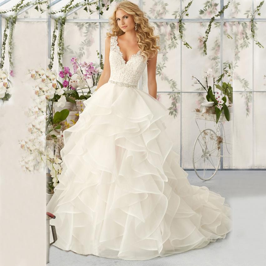 dw2325 lace v neck wedding dresses 2016 ruffles