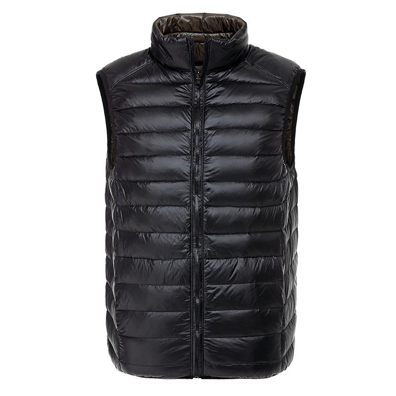 New 0.3kg Men's Down Vest Jacket Gilet Light Thin Warm Double Side Wear Black/Navy Solid S--XXXL(China (Mainland))