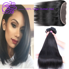 Malaysian Straight Hair 3/4 Bundles With Lace Frontal Closure Malaysian Virgin Hair With Closure Human Hair Solid Straight Hair(China (Mainland))