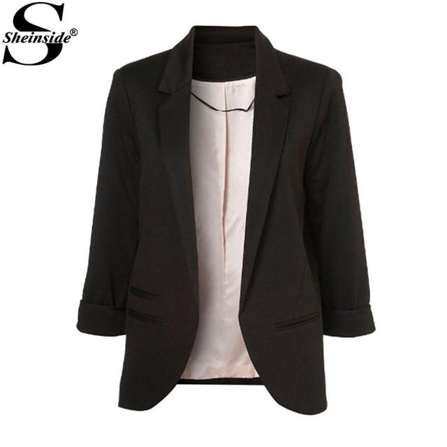 Sheinside работа новое поступление 2016 летний стиль женщин свободного покроя топы черный карманы бойфренд понте проката блейзер