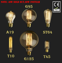 E27 E14 40W 60W Vintage Edison Lamp Light Bulb C35 Flame Candle G125 G95 ST64 T45 A19 T10  110V 220V(China (Mainland))