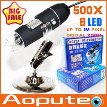 Más nuevo Aopute en promoción lupa del endoscopio de la cámara 2.0MP con 8 LED 500X microscopio del USB digitaces, xr-m500, envío gratis