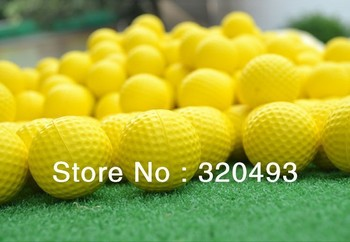 HOT SELL!!! Free shipping 10pcs/lot Soft Indoor Practice foam PU Yellow Golf Balls Training Aid Drop Shipping wholesale&retail