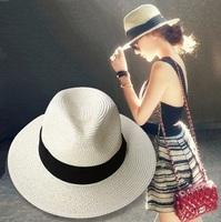 summer floppy straw panama beach hats for women tea party,vogue classic black girdle jazz sun hat,chapeu feminino,sombrero mujer