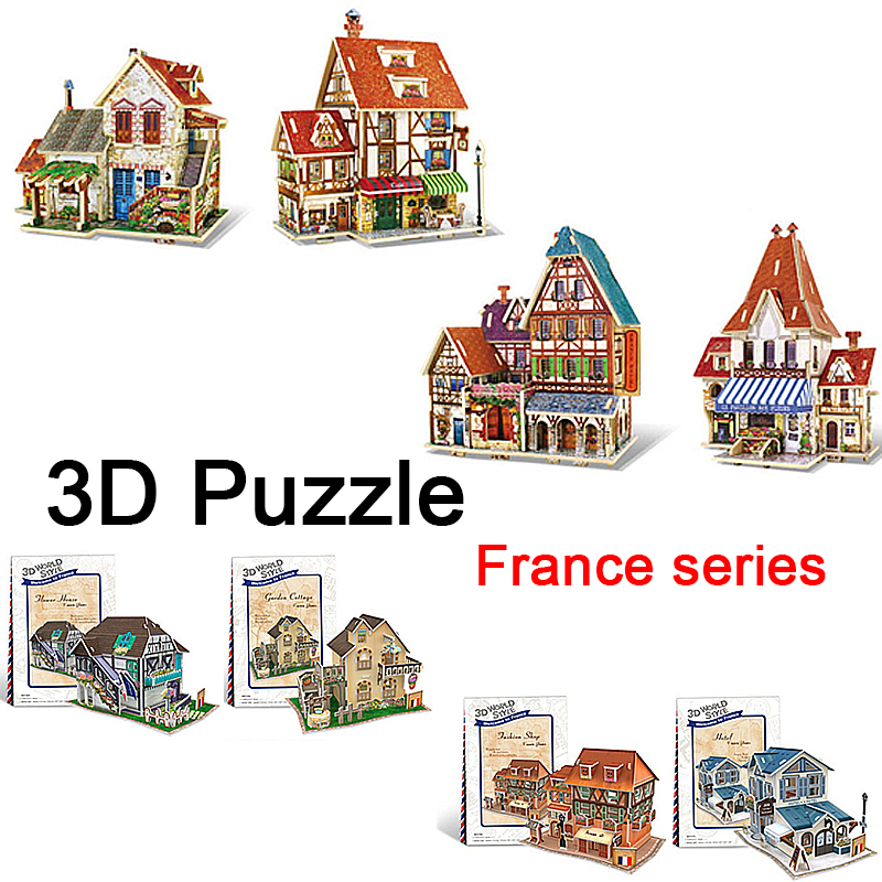 2016 New 3D Wood Puzzle DIY Model Kids Toy Western French Style House 3d building wooden puzzles Free Shipping birthday gift(China (Mainland))