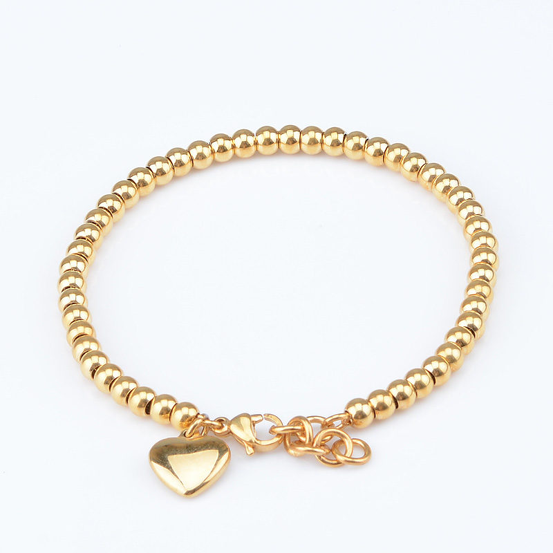 1pcs 18cm 4mm Girls Womens Yellow Rose Silver Tone Gold Plated Chains Stainless Steel Beads Bracelet Heart Brand Jewelry(China (Mainland))