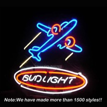 New Air War Plane Bud Light Neon Sign Neon Bulbs Recreation Room Garage Sign Store Display Real Glass Tube Handcraft Gifts 17×14