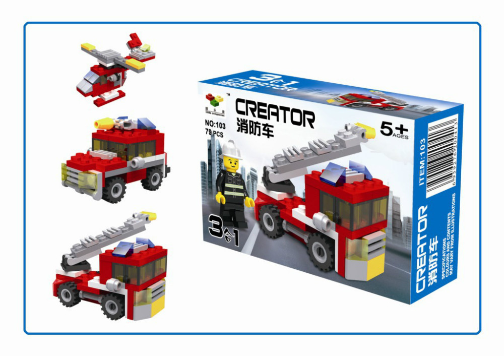 Building fire truck series three oneness to hold children small building blocks(China (Mainland))