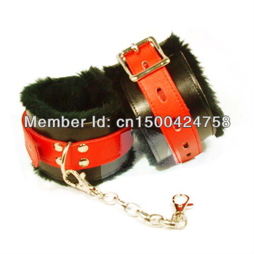 Furry sexy products Sex leather dolls black hand cuffs porn ankle restraints H66021 Free shipping(China (Mainland))