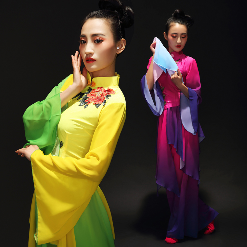 Chinese Classical dance clothes Hanfu ancient costume fairy fan/drum/umbrella dance costumes green yellow poetic clothing(China (Mainland))