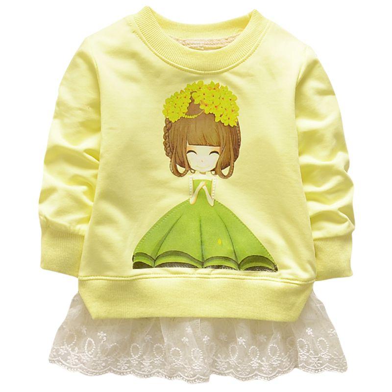 Hot Sale Spring Baby Girls Princess Lace Tutu Dress Cartoon Print T Shirt Cotton Clothes Shoes 7881(China (Mainland))