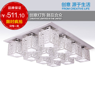 new arrival Lighting modern brief 12 carved acrylic ceiling light big living room lamps free shipping(China (Mainland))