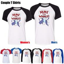 Fashion Style PSP Nuke The Whales Game Design Printed T-Shirt Womens Girl's Graphic Tee Tops Red or Black Sleeve