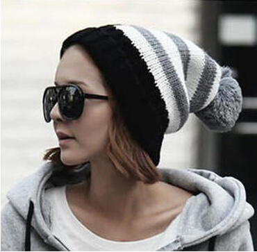 M302 Flanged ball star woolen cap female lovers knitting Flag Free shipping(China (Mainland))