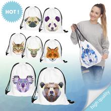 Animal head 3D Printing 2016 womens daypacks printing bag for sports mochila feminina harajuku drawstring bag mens backpacks