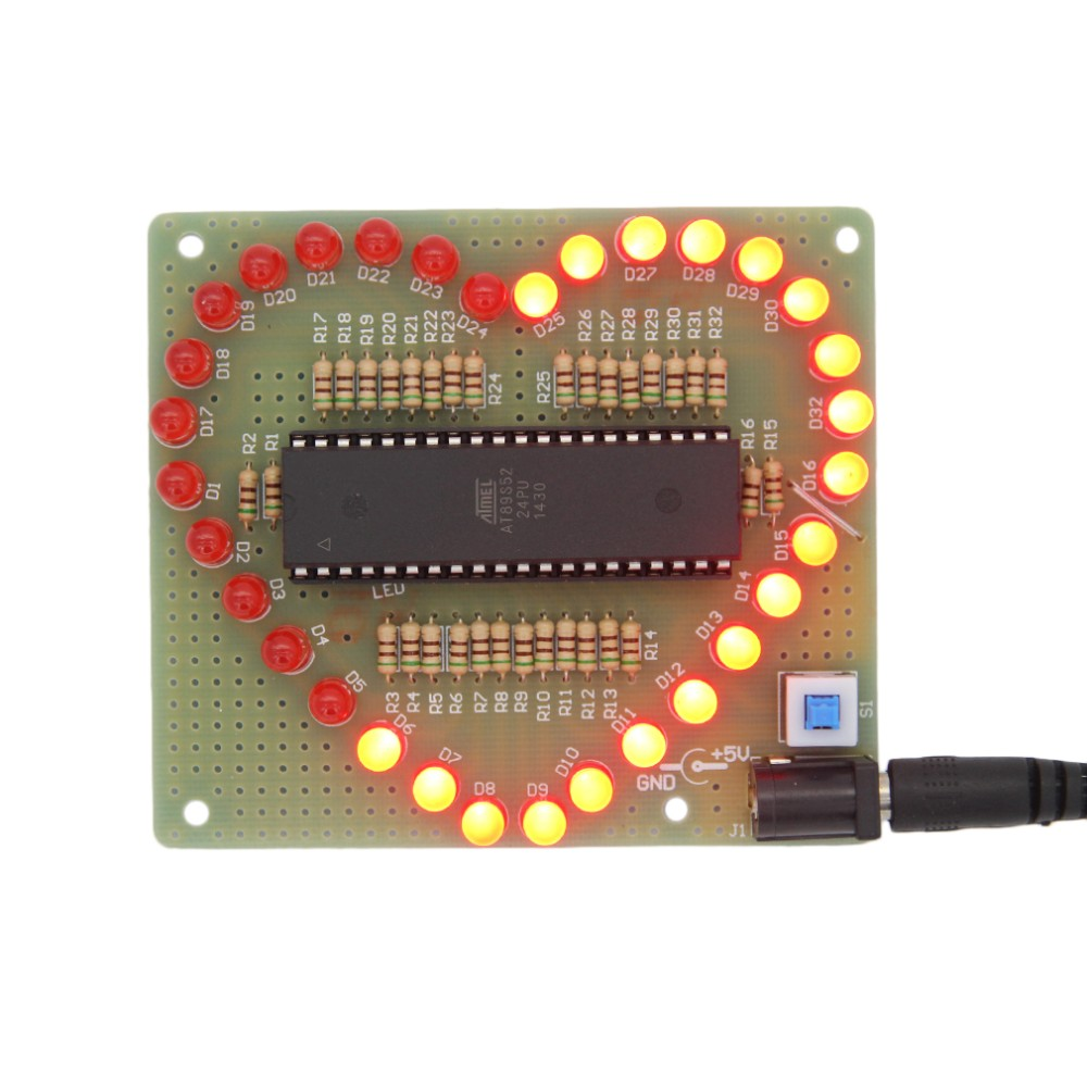 image for New DIY Kit Heart-shaped LED Red Blue Colorful Light Water Electronic