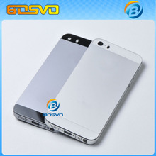 High quality Metal battery cover for iPhone 5s iphone5s back housing rear door case white&gray one piece free shipping