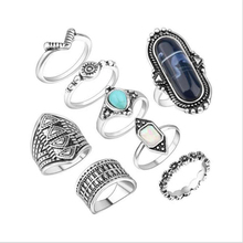 Buy 8 pcs / set Midi Ring Set Women Boho Beach Vintage Turkish Crystal Silver Tibetan Flower Knuckle Rings Gifts R283-R285 for $2.89 in AliExpress store