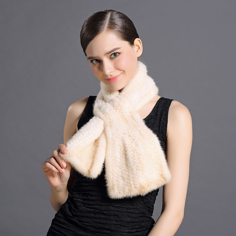 Hot Woman Fur Scarf Knitting Real Animals Mink Fur Wrap Winter Collo Neck Warming Protected Collar Basic Female Mink Fur Scarves(China (Mainland))