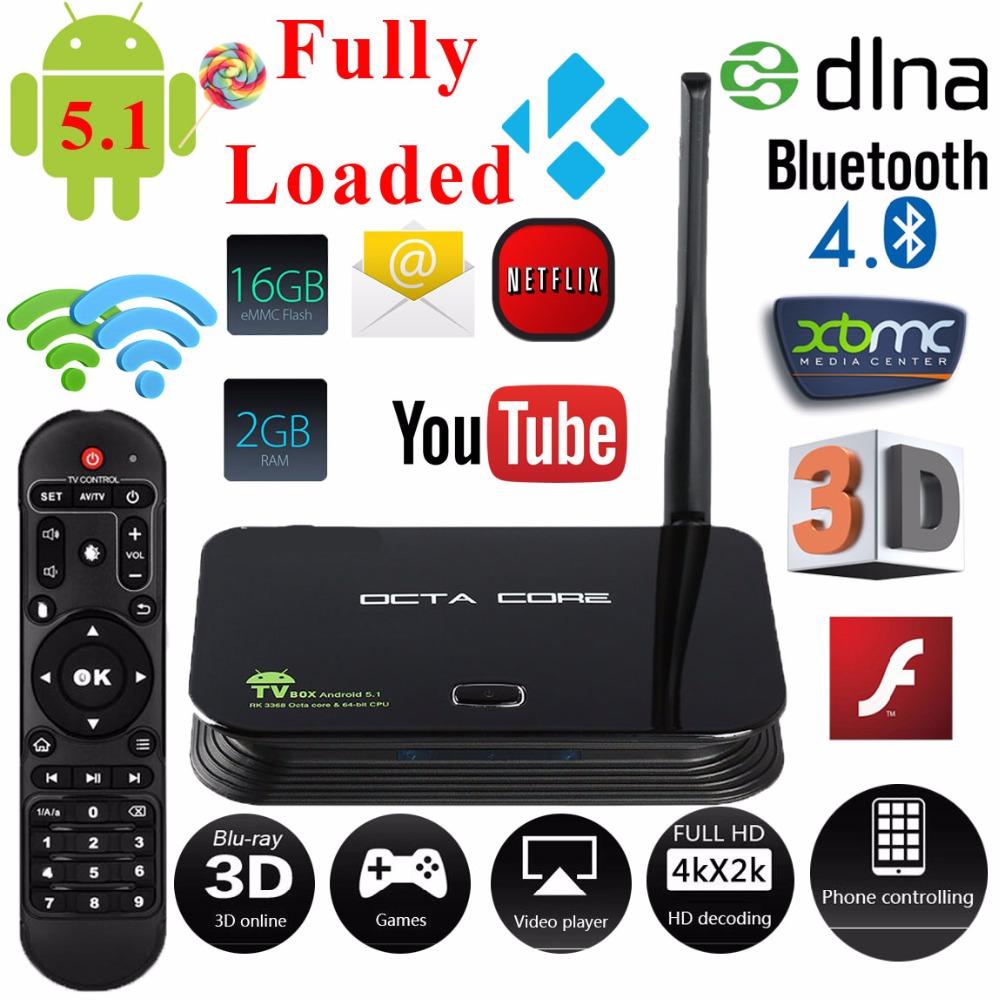 New TV Box Android 5.1 Octa Core 2GB 16GB 4K Bluetooth4.0 DLNA Smart TV Set Top Box Smart Media Player Kodi(XBMC)Fully Loaded(China (Mainland))