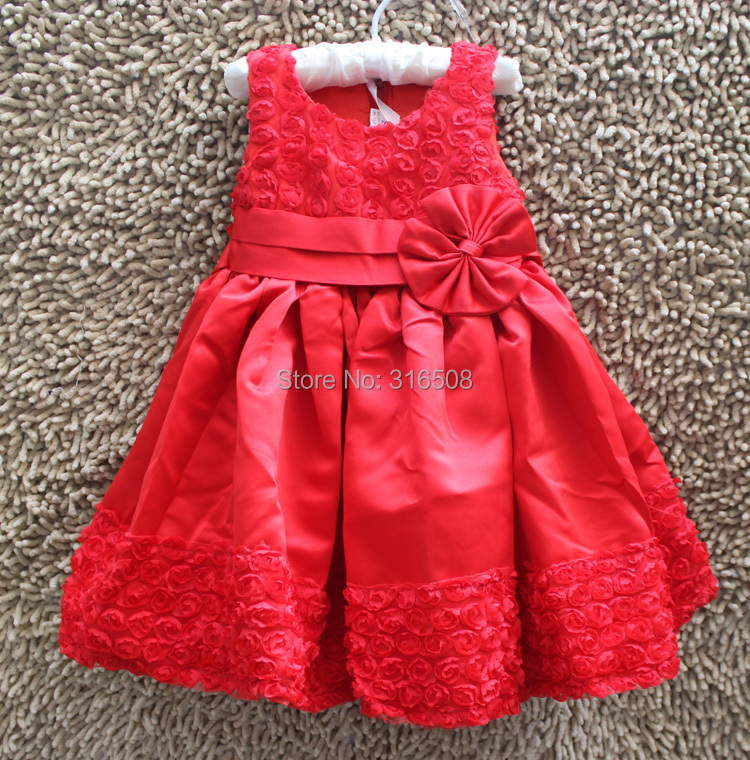 Free Shipping DHL 12pcs Wholesale  Baby Kids Dresses New Fashion Girl Children Dresses Party Dress With A Bow Yarn Red Color<br><br>Aliexpress
