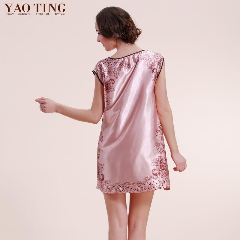 D7-I74-BZ romantic print nightgown Home dress summer sleeveless plus size nightgowns beautiful nightgown silk satin nightwear