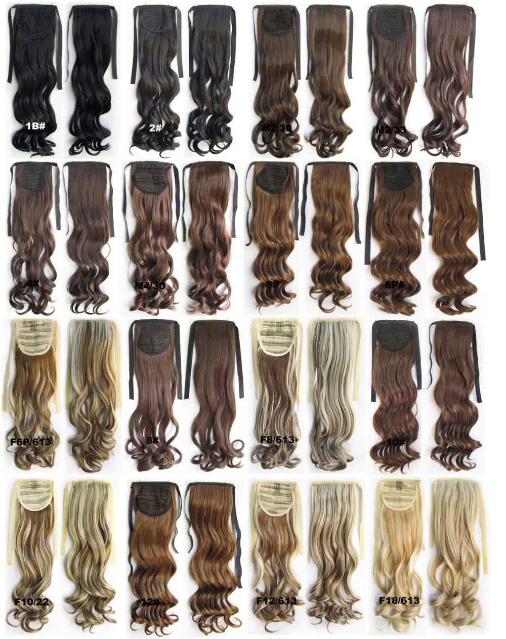 Heat Resistance Synthetic Hairpieces Ribbon Ponytail Clip in on wavy Hair Extension 55cm,80g,28 colors available,10pcs/lot(China (Mainland))