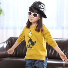 2016 Baby Girls Kids Long Sleeve Sweatshirts Blouse Winter Clothes Plush Cartoon Yellow Color Children's Clothing 100% Cotton(China (Mainland))