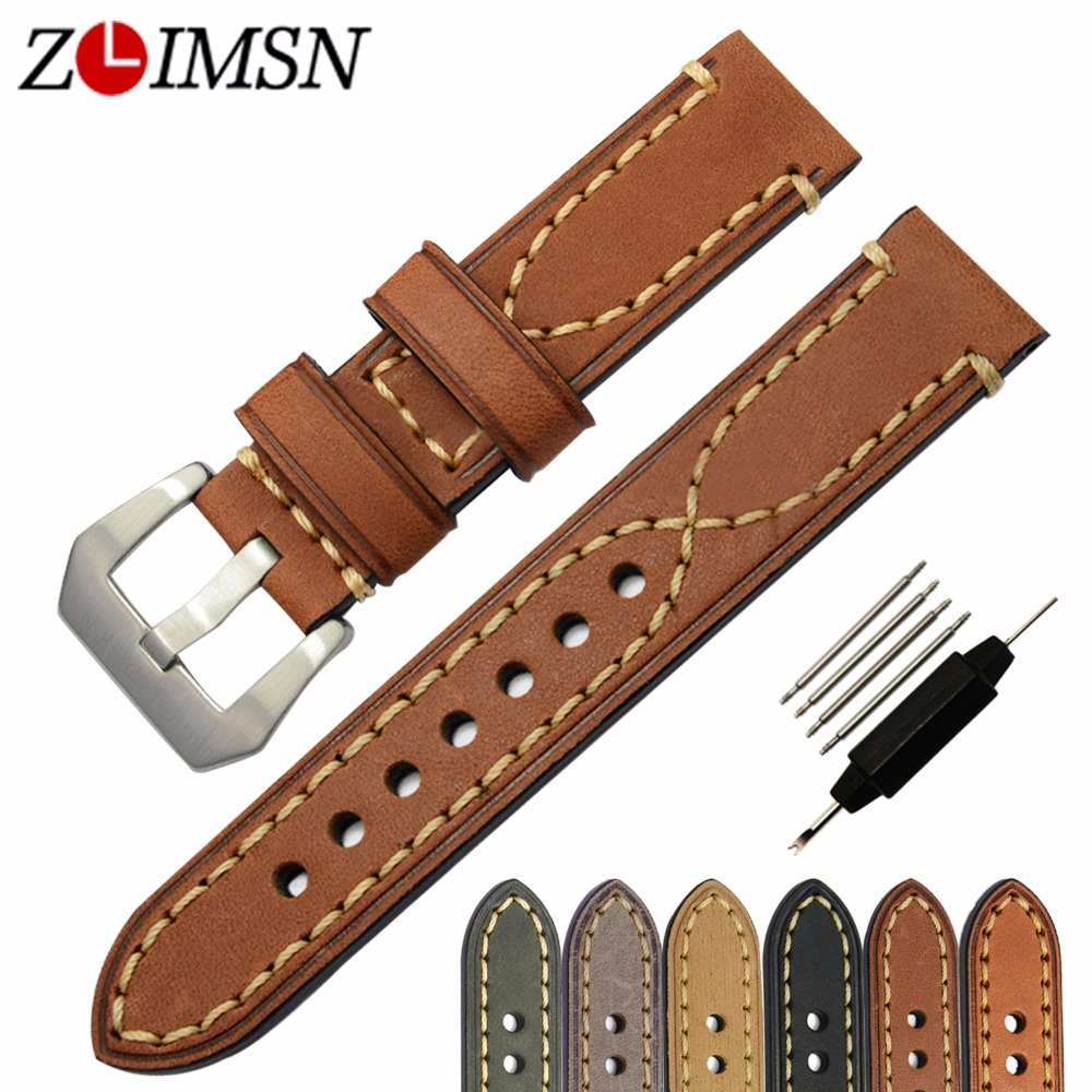 ZLIMSN Mens Watchbands Genuine Leather Thick Lady Watch Band Strap Belt Steel Pin Buckle 20mm 22mm 24mm 26mm(China (Mainland))