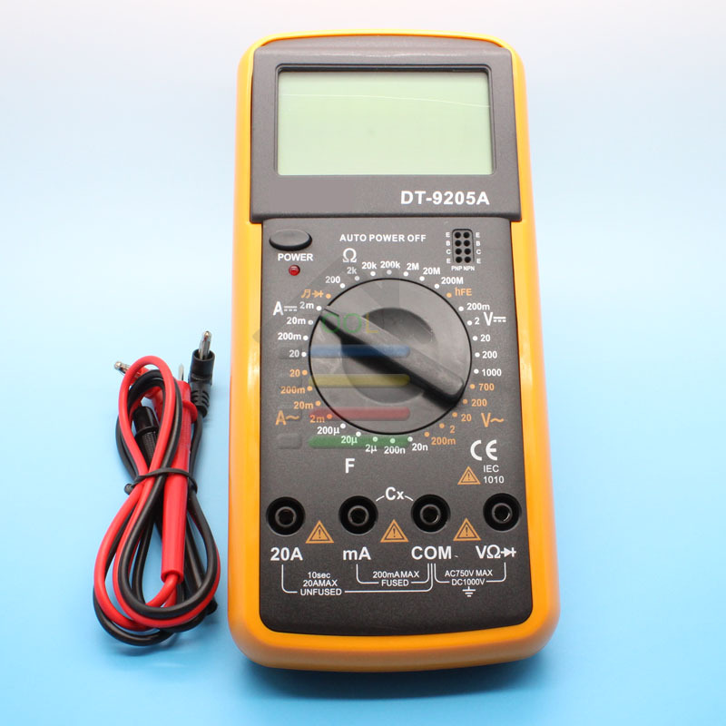 Free shipping DT9205A AC/DC Professional Electric Handheld Amp Volt Ohm Capacitance Tester Meter Digital Multimeter(China (Mainland))