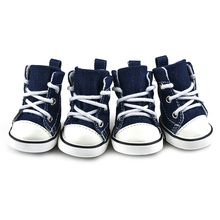 New 4PCS BLUE Puppy Pet Dog Denim Shoes Sport Casual Anti-slip Boots Sneaker Shoes(China (Mainland))