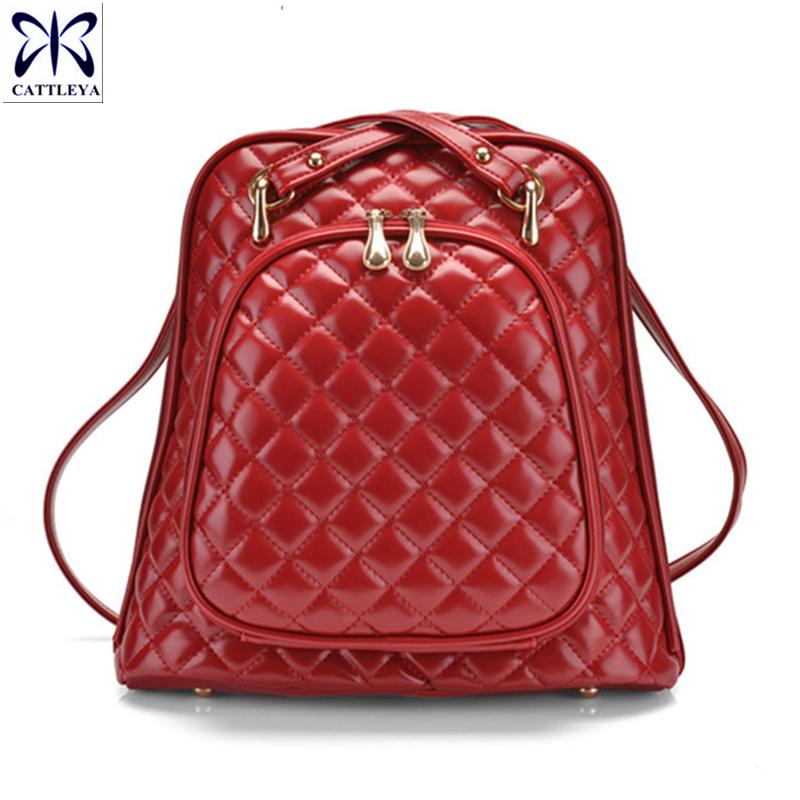 New Arrive 2016 Women Backpacks Preppy Style Leather School College Travel School Bag Mochila Lattice Rucksack Girl Gift CBY040(China (Mainland))