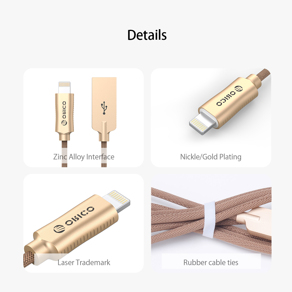 ORICO USB-A to Lighting 8 PIN USB Cable for iPhone iPad iPod 2.4A USB2.0 Charging Data Sync Cord for Apple Devices 1 Meter Zinc