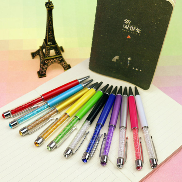 New Stationery Store High Diamond Ballpoint Pens School Office Supplies Bling Crystal Metal Ball Pens