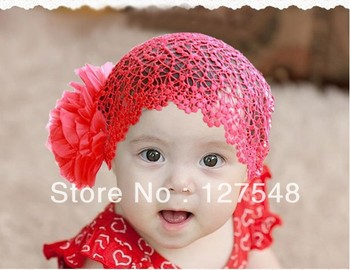 Free Ship Pink red White Color Flower Headband Baby Girls Elastic Hairband Hair Accessories Headwear 2pcs/lot Wholesale Price