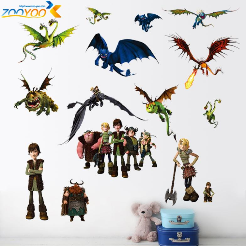 how to train your dragon 2 stickers zooyoo1427 3d movie wall decals boys room decorations hot selling kids room wall arts(China (Mainland))