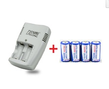 4pcs 3v cr123a rechargeable lithium battery, camera / flashlight battery + 1pcs cr123a  charger(China (Mainland))