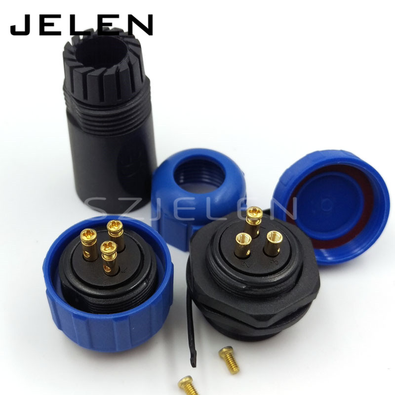 SP21, No need welding, waterproof connector 3 pin plug socket, LED waterproof power cable connector, IP68, Current Rating 30A(China (Mainland))