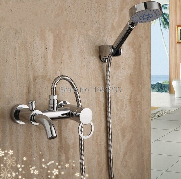 Bathroom Chrome Plated Shower Faucet Sets Hand Shower Sets Chrome Brass Bath
