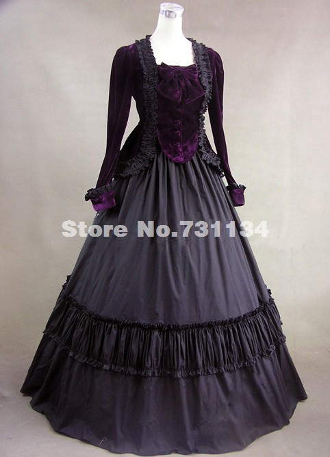 2014 Elegant Black Long Sleeve Vintage Medieval Gothic Victorian Ball Gowns