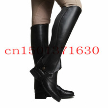 Free Shipping  Equestrian Chaps Half pants Leg protector warmer hard-wearing Black Good quality FOR man women and(China (Mainland))