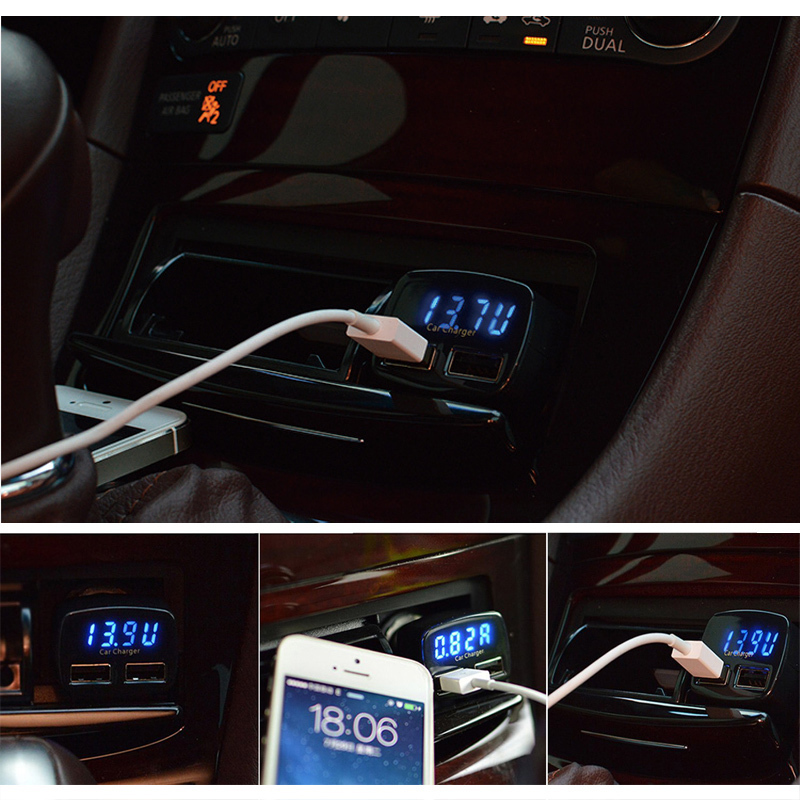 4 In 1 Dual USB Car Charger Adapter Voltage DC 5V 3 1A Tester MTY3