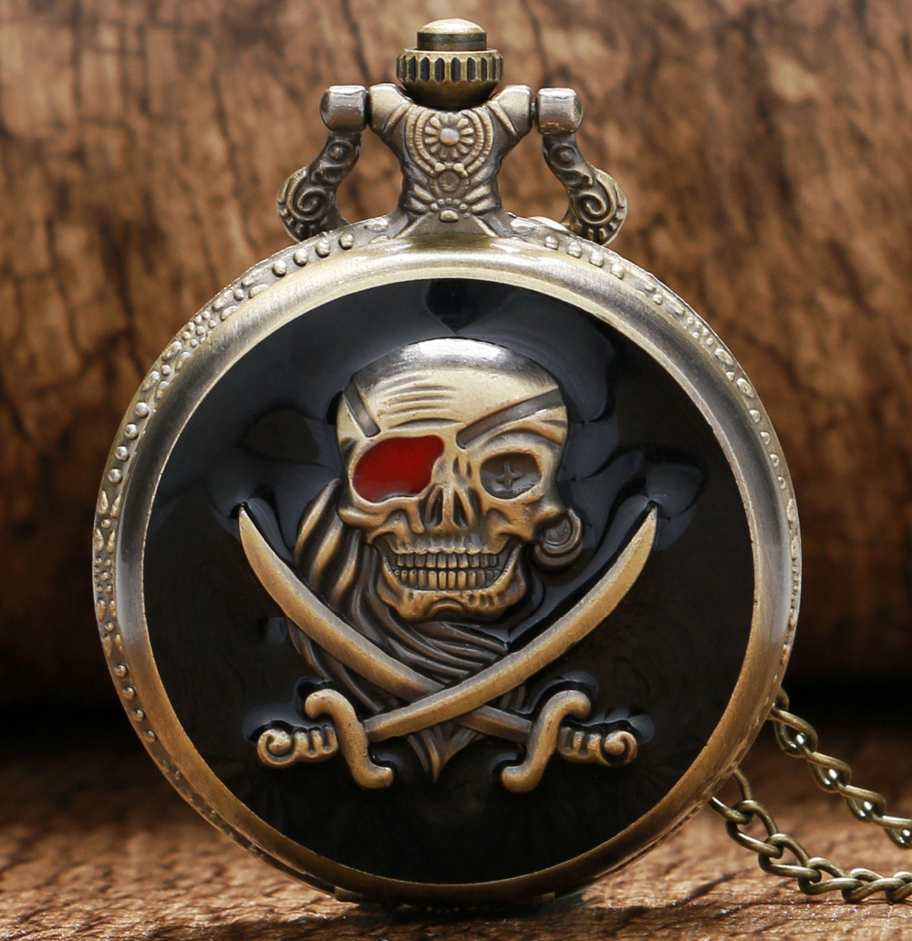 Cool Black & Bronze Pirate Skull Case Design Quartz Fob Pocket Watches with Necklace Chain for Men Women Best Gift(China (Mainland))