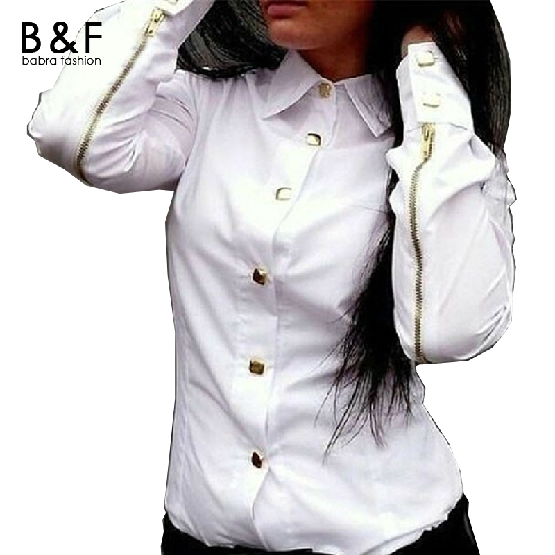 White Blouse 2016 New Fashion Long Sleeve Work Office Business Ladies Blouses Casual Button Blusas 3 Color Women Clothing(China (Mainland))