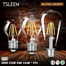 Buy E27 Filament LED Bulb 110V 220V COB LED Light 4W 8W 12W 16W Retro Candle Bulb lampada led Glass Housing Lamps bombillas for $8.71 in AliExpress store