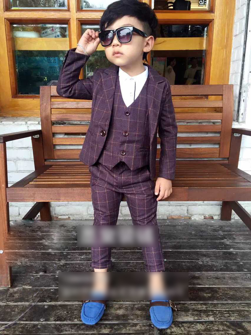 New Child Suits Plaid children Clothing sets Blazers + Pant + Vest 3-pieces sets Boy Casual Costumes Autumn Baby Garment Purple(China (Mainland))