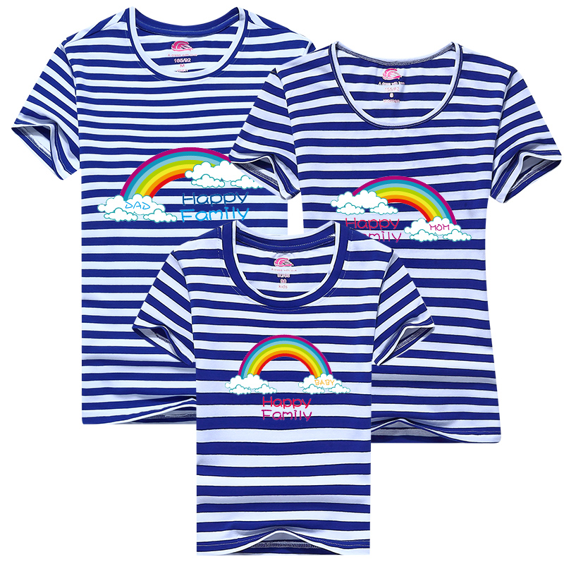 2017 Mother and Child Rainbow Cartoon T-shirt casual sportswear T-shirt printing Mommy and Me Clothes Family Clothing 3pcs/lot(China (Mainland))